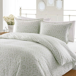 Laura Ashley - Laura Ashley Jayden Sage Flannel 3-piece Duvet Cover Set - A beautiful sage green damask pattern lines the Jayden duvet cover and shams to add simple elegance to your bedroom decor. Crafted with 100-percent flannel cotton,this soft button-closure bedding is machine washable for easy care.