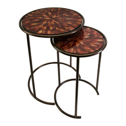 Handcrafted Mosaic Nesting Glass Tables - Set of 2 - *Brilliant red toned glass mosaic tops the handcrafted set of two Mashaka nesting tables in petal shaped forms.
