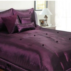 Hudson Street Bohemia 7 pc. Comforter Set - Eggplant - Create a dramatic, elegant look for your bedroom with the Hudson Street Bohemia 7 pc. Comforter Set - Eggplant. This 100% polyester comforter set features a rich, dark eggplant color with knotted fabric accents.About Epoch HometexDetermined to provide the very best in contemporary fabrics to the luxury home decor market, Epoch understands that today's consumers want traditional quality in a style to fit today's world. Created by PM Lam, Epoch understands that customer satisfaction is crucial; to that end, they produce only the very best products with superior materials and craftsmanship to last.