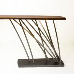Girardini Design Modern - Console table made from arcing bars of steel with a cherry wood top.