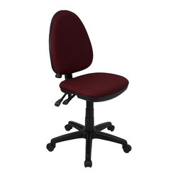 Flash Furniture - Upholstered Task Chair w Black Legs - Adjustable lumbar support. Height adjustable back. Locking back angle adjustment. Thickly padded seat. Pneumatic seat height adjustment. Double paddle control mechanism. Heavy duty black nylon base. Heavy duty dual wheel casters. Warranty: 2 year limited. Assembly required. Back: 16 in. W x 20 in. H. Seat: 18.25 in. W x 17 in. D. Seat Height: 16.5 - 20.5 in.. Overall: 22 in. W x 22 in. D x 35.5 - 39.5 in. H (24 lbs.)