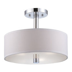 Designers Fountain - Designers Fountain Cordova Semi-Flush Mount Ceiling Fixture in Chrome - Shown in picture: Cordova Semi-Flush in Chrome finish with White Fabric shades