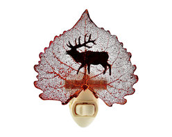 Elk/Deer Silhouette Nightlight on Real Iridescent Cottonwood Leaf - If the elk or deer is a kindred spirit to you, you're going to want him guiding your path in the form of this elegant nightlight. A real cottonwood leaf was preserved in precious metals to create this unique, handmade glowing piece.