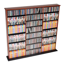 Prepac - Prepac Cherry and Black Triple Media Tower (Holds 960 CDs) - Keep your media stored and sorted with the triple width wall storage. Designed in a library style, this unit has three separate compartments, each with fully adjustable shelves that make storing a variety of media easy. Horizontal storage makes it simple to sort and fill your collection as it grows. Popular and practical, you'll wonder how you stored your media without it.