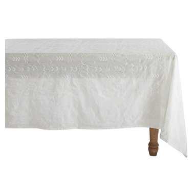 """Coyuchi - Abstract Embroidered Voile Tablecloth 70""""x108"""" White w/White - Sheer and fine, our cotton voile cloth floats over the table like mist, letting the beauty of the tabletop show through. The look is ethereal over glass, earthy over wood, and iridescent over a colored under-cloth. Hand-stitched embroidery punctuated with nubby French knots offers a hint of pattern and texture."""