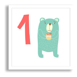 Gallery Direct - Learn to Count: One Hungry Bear Framed Paper Art - This framed paper print comes ready to hang with a modern 7/8 inch frame. The sleek frame makes for an extremely versatile design solution. There is glass over the face of the print, so hang out of reach of little hands!