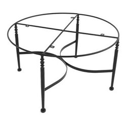 """Meadowcraft - Meadowcraft Athens Wrought Iron Round Chat Table Base - Inspired by Southern hospitality Meadowcraft's Athens seating patio furniture collection eloquently speaks to the luxury of comfortable living. Graceful swirls and elegant detailing welcome you with the quiet elegance of a gardenia-scented evening spent with your very best friends. Athens features luxuriously thick cushions give way to a truly indulgent design and a space you may never wish to leave.Meadowcraft is a leading domestic manufacturer of quality wrought iron furniture and cushions located in Wadley Alabama.  With traditional and post war modern styles utilizing subtle understated designs Meadowcraft furniture is an excellent addition to any home. Whether choosing the deep seating comfort of a cushioned loveseat or the comfortable durability of a commercial grade mesh bistro chair you are invited to relax in all of Meadowcrafts products.  Meadowcraft takes the """"made in the U.S.A."""" label seriously and strives to exceed its perceived responsibilities to their customers and community.  Features include Made of extremely durable wrought iron material Hand formed by skilled craftsmen to insure the strongest furniture in the industry Offered in wide selection of powder coated finishes manufactured to prevent rust Round slick shape."""