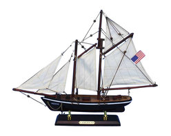 "Handcrafted Model Ships - America 16"" - Wooden Model Sailboat - Fully Assembled Not a Model Ship Kit. Attach sails and the America model yacht is Ready for Immediate Display. The namesake of the America s Cup, and the first yacht to win the legendary race, this fabulous model sits perfectly and proudly atop any desk or above the mantel. With the nautical flair of the world s oldest sailing competition, your home or office will enjoy the charming warmth of this historic sailing decor."