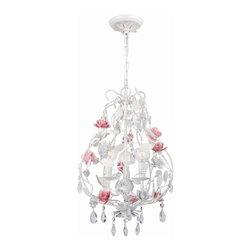 """Crystorama - Lola Chandelier - Chandelier with hand-painted wrought iron, metal rose accents, and hand-cut crystal accents. Takes 3 - 60 w/c bulbs. Chain: 72"""" Wire: 120"""""""