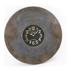 "Paris Wall Clock W/ Magnets Large - This charming wall clock celebrates the beauty in antiquity (or Antiquité de Paris, as featured on the face). You can use the fleur-de-lis-shaped magnets to keep reminders (""Book trip to Paris!"") on its metal surface."