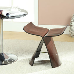 MODERN WENGE WOOD ACCENT STOOL WHALE -