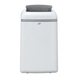 SPT Appliance - Portable Air Conditioner with Heater (14000 B - Choose Coolint Power: 14000 BTUIncludes complete fitting kit for standard set up. Hose not included for built-in water tank or continuous drainage option. Sleek design with remote and LCD panel. Four operational mode: Cooling, heating, dehumidifying, fan. Heat pump technology. Auto re-start - unit restarts at previous function when power resumes after a power failure. Digital temperature display and remote control. Fire resistant PVC plastic housing. Removes moisture for personal comfort. Washable air filter collects dust particle. Casters for easy mobility. Choice of programmable timer - 24 hour or continuous operation. Auto-swing louver. Extendable exhaust hose. Power cord storage. UL approved. Measuring condition based on factory testing condition. Cooling room temp.: 81° F. Room humidity: 60 per.. Heating room temp.: 68° F. Heating capacity: 11,000 btu per hour. Power consumption cooling: 1355 w, 11.8 amp. Power consumption heating: 1240 w, 10.8 A. Window kit material: 2-pc plastic kit - max 48 in.. Thermostat: 62-88° F. Operating temperature:. Cooling: 62° F to 95° F. Heating: 41° F to 88° F. Dehumidifying: 55° F to 95° F. Control: Digital with remote. EER: 8.9. Power supply: 115 volt, 60Hz, 1 phase. Timer: 24 hour. Fan speed: 3. Exhaust hose installation required. White color. 12000 btu:. Cooling capacity: 12,000 btu per hour. Recommended room size: 450 to 550 sq. ft.. Air volume - max: 508 m3 per hour. Moisture removal: 1.2 liter per hour. Noise level - High, medium and low: 54.6, 52.6, 51.5 dBA. Refrigerant: R410 A or 15.87 ozs. 18.39 in. W x 15.63 in. D x 30.12 x in. H (71 lbs.). 14000 btu:. Cooling capacity: 14,000 btu per hour. Recommended room size: 550 to 700 sq. ft.. Air volume - max: 497 m3 per hour. Moisture removal: 1.4 liter per hour. Noise level - High, medium and low: 55.2, 52.5, 49.9 dBA. Refrigerant: R410 A or 17.99 ozs. 18.39 in. W x 15.63 in. D x 30.12 x in. H (74 lbs.). Instruct
