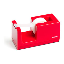 Poppin - Tape Dispenser, Red - Let's dispense with formalities. You have trouble staying organized and your desk suffers from the style blahs. But this tape dispenser in your choice of eye-popping colors is bound to fix that. It features a weighted core, includes a free role of tape and coordinates with other desk accessories in the same line.