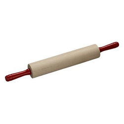 Rolling Pin with Red Handle - Kitchen-friendly red handles and smooth rolling action distinguish this classic rolling pin crafted of maple with a sturdy steel axle.Maple barrels and handlesSteel axlesNylon bearingsHand washMade in USA