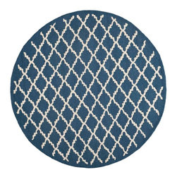 Safavieh - Milana Hand Tufted Rug, Navy / Ivory 6' X 6' - Construction Method: Hand Tufted. Country of Origin: India. Care Instructions: Vacuum Regularly To Prevent Dust And Crumbs From Settling Into The Roots Of The Fibers. Avoid Direct And Continuous Exposure To Sunlight. Use Rug Protectors Under The Legs Of Heavy Furniture To Avoid Flattening Piles. Do Not Pull Loose Ends; Clip Them With Scissors To Remove. Turn Carpet Occasionally To Equalize Wear. Remove Spills Immediately. Bring classic style to your bedroom, living room, or home office with a richly-dimensional Safavieh Cambridge Rug. Artfully hand-tufted, these plush wool area rugs are crafted with plush and loop textures to highlight timeless motifs updated for today's homes in fashion colors.