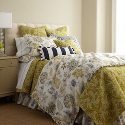 """French Laundry Home - French Laundry Home King Floral Dust Skirt - A mix of beautiful colors and patterns, all with enduring charm, characterizes """"Adelaide"""" bedding by French Laundry Home. Floral linens with mini ruffle trim and blue paisley shams are woven of linen. Dust skirts have an 18"""" drop. Green linens with...."""
