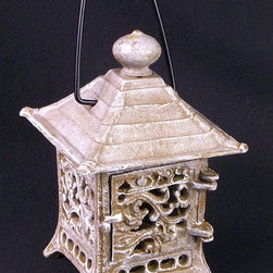 AA Importing - Pagoda Shaped Asian Inspired Cast Iron Lanter - House design. Cast iron. 4.5 in. L x 4.5 in. W x 6.5 in. H
