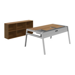 Turnstone - Bivi Office for One - The Bivi Office for One consists of a Bivi Table, one Bivi Big Depot for storage, and two Bivi Top Shelves to keep track of desktop items. Choose your laminate color and powder-coated steel base finish.