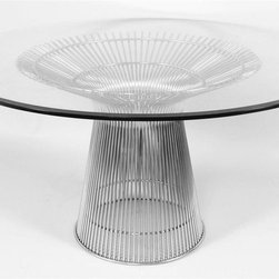 Control Brand - Fishburne Round Dining Table - 0.5 in. thick slab of tempered glass top beveled and polished along the edge. Carefully welded together to form a perfect symmetry. Polished stainless steel base. Made from solid stainless steel and glass. 54 in. Dia. x 28.75 in. H (143 lbs.)