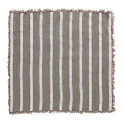 Alexandria Stripe Napkin, Set of 2, Stone/White