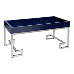 Worlds away - Worlds Away Conrad Navy with Stainless Steel Greek Key Base - Worlds Away Conrad Navy with Stainless Steel Greek Key Base