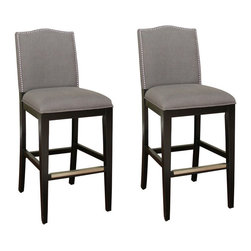American Heritage - American Heritage Chase 30 Inch Bar Stool in Black (Set of 2) - Style and comfort come together with a fully upholstered high-back seat that works with any modern decor, from minimalist to eclectic. Lush smoke linen upholstery enhances the black finished wood frame with durable mortise and tenon construction, adjustable leg levelers, comfortable webbed seating, and protective metal footplates. What's included: Stool (2).
