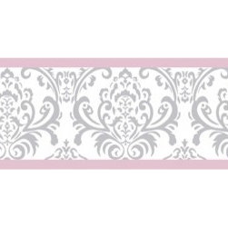 Sweet Jojo Designs - Elizabeth Pink and Gray Damask Wall Paper Border by Sweet Jojo Designs - The Elizabeth Pink and Gray Damask Wall Paper Border by Sweet Jojo Designs, along with the bedding accessories.