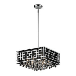 Z-Lite - Mirach Six-Light Chrome Pendant with Black String Shade and Strung Crystals - - The steel outer shell of this fixture uses unique geometric patterns to create a stunning modern look, while the inner black string shade subdues the light, creating a warm glow.   - Complimenting this contemporary look are glittering strung crystals, which sparkle and shine against the chrome hardware.   - Adjustable rods are included to ensure the perfect hanging height.   - Bulbs Not Included.   - Chrome Steel Frame.   - Black Fabric Shade.   - Chain Length: 45.   - Cord Length: 53. Z-Lite - 869CH