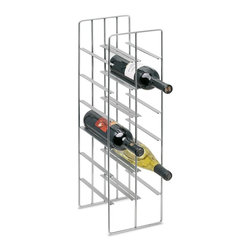 Blomus - Pilare Steel Wine Bottle Storage in Nickel - Holds 12 bottles. Made of steel, matte Nickel plated. 1-Year manufacturer's defect warranty. 7.51 in. L x 8.69 in. W x 26.07 in. H