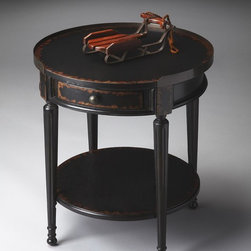 Butler - Butler Masterpiece Accent Table In Midnight Rose - Selected solid woods and choice cherry veneers. Four-way matched cherry veneer top with a distressed  aged finish. Single drawer. Antique brass finished top gallery and hardware.