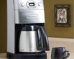 Cuisinart - Grind and Brew Thermal 10 Cup Coffee Maker - The Grind & Brew Thermal Coffee Maker grinds your favorite beans just before brewing. A double-wall, insulated, brushed metal, thermal carafe keeps up to 10 cups of coffee hot for hours. The elegant European design creates the perfect look for today's gourmet kitchen. Features: -Elegant Italian styling.-Automatically grinds whole beans before brewing.-24-hour fully programmable.-10 (5 oz.) cup double-wall insulated thermal carafe.-Automatically shuts off when brewing is complete.-Grind-off feature.-1 to 4-cup feature.-Cord storage.-Charcoal water filter (removes impurities).-Gold tone commercial-style permanent filter and measuring scoop.-Paper basket filter starter kit.-Instruction book.-Brushed chrome finish.-Brew Pause feature lets you enjoy a cup before brewing has finished.-Collection: Chrome Appliances.-Distressed: No.Dimensions: -15'' H x 8'' W x 11.2'' D.Warranty: -Limited 3-year warranty.