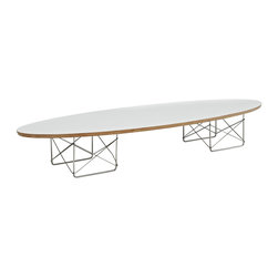 """LexMod - Surfboard Coffee Table in White - Surfboard Coffee Table in White - The effects of buoyancy are carefully observed in this energetic piece. Although the polished steel rod stands are a work unto their own, the simple beauty of this table is in its completeness. While the top extends the length of a standard sofa, the tone is both slight and charming. Rather than something massive, the elliptical nature of the plywood top seems to effortlessly ride the horizon line. Surfboard is a favorite among commercial reception and lounge areas, that seek something both formative and conceptually unobtrusive. Set Includes: One - Surfboard Elongated Coffee Table Modern elongated coffee table, High grade plywood top, Polished stainless steel base Overall Product Dimensions: 70""""L x 23""""W x 10""""H Table Top Dimensions: 1""""H Floor to underside of table: 9""""H Space between legs: 12""""W - Mid Century Modern Furniture."""