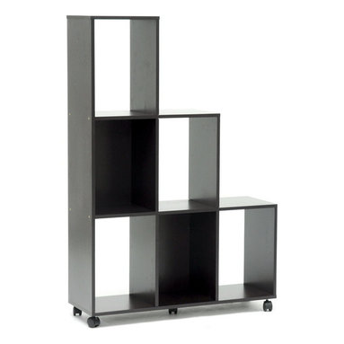 Wholesale Interiors - Hexham Rolling Display Shelving Unit - Large enough to serve as a room divider but small enough to avoid obstructing the view, the Hexham Display Shelf serves whatever purpose your needs call for. The shelving unit features six rectangular compartments formed from dark brown paper veneer-finished lapped chipboard as well as black plastic caster wheels for easy mobility. The unit works equally well against a wall as it does in the center of a room as a divider. To clean, wipe the unit with a damp cloth. Made in Malaysia, assembly is required. Note: the back is not veneered and has a unfinished appearance.