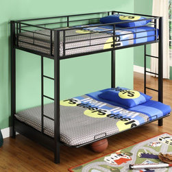 "Home Loft Concept - Sunrise Twin over Futon Bunk Bed with Built-In Ladder - Elegance and function combine to give the contemporary Sunrise Twin over Futon Bunk Bed with Built-In Ladder by Home Loft Concept a striking appearance. The design has a stylish modern look crafted with durable steel framing. The solid metal frame is offered in solid black or solid white lead-free powder-coated finishes. Designed with safety in mind, the twin size top bunk includes full length 14.75 high guardrails. The top bunk can hold up to 250 lbs. A sturdy integrated ladder is built-in at the head and foot of the bed to provide access to the top bunk. Great for any space-saving design needs. The lower futon easily converts into a full size sleeper to accommodate an overnight guest or a growing family. The futon has a weight capacity of 300 lbs. The design of the Sunrise Twin over Futon Bunk Bed with Built-In Ladder has about an 8.25 high space between the bottom of the futon and the floor, which can accommodate some under bed storage bins. Twin size standard mattress and full sized futon mattress are not included. It is recommended that the twin size mattress be no more than 9 high. Assembly is required. When assembled, the Sunrise Twin over Futon Bunk Bed with Built-In Ladder measures 68 high by 79 wide by 42 deep. Features: -Stylish contemporary design.-Quickly, easily and safely converts into a full size sleeper.-Conforms to the latest consumer product safety standards.-Ideal space-saving design.-Maximum recommended upper mattress thickness of 9"".-Does not include mattresses or bedding.-Sturdy construction.-Attractive lead-free powder-coated finish.-Distressed: No.-Hardware Finish: Metal.-Powder Coated Finish: Yes.-Gloss Finish: Yes.-Frame Material: Steel.-Number of Items Included: Bed frame.-Hardware Material: Metal.-Stain Resistant: No.-Scratch Resistant: No.-Configuration: Twin over futon.-Mattress Included: No.-Boxspring Required Top Bed: No.-Converts to Two Beds: No.-Slat System Included: Yes.-Guardrail(s) Included: Yes.-Trundle Bed Included: No.-Ladder Included: Yes -Ladder Location: Side..-Casters: No.-Slide: No.-Headboard Storage: No.-Also Suitable for Adults: Yes.-Weight Capacity Top Bed: 250 lbs.-Weight Capacity Bottom Bed or Futon: 300 lbs.-Swatch Available: No.-Commercial Use: No.-Product Care: Wipe with dry / wet cloth.Specifications: -ISTA 3A Certified: Yes.Dimensions: -Overall Product Weight: 113 lbs.-Overall Height - Top to Bottom: 68"".-Overall Width - Side to Side: 42"".-Overall Depth - Front to Back: 80"".-Distance Between Top and Bottom Bunk: 43.5"".-Bottom of Lower Bunk to Floor: 8"".-Headboard Height Top to Bottom: 15"".-Footboard Height Top to Bottom: 15"".-Mattress: No.-Built In Desk: No.Assembly: -Assembly Required: Yes.-Tools Needed: Tools provided.-Additional Parts Required: No.Warranty: -Product Warranty: 30 Day defect."