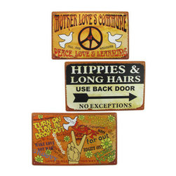 Set of 3 Peace, Love, Hippie Themed Metal Signs 10 In. X 16 In. - This set of signs is inspired by the Summer of Love, and adds a fun, retro look to your home. The signs feature images of peace signs, doves, and a bubbly font. Each one is made of metal, and measures 10 inches tall, 16 inches wide. They have pre-drilled holes in each corner, so they are easy to mount to any wall. This set is a great decoration for 60`s parties, and is sure to be admired.