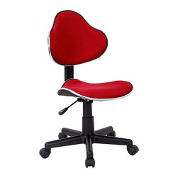 Flash Furniture - Rolling Office Chair in Rich Red - The perfect chair for any room in your house. Whether for the kids or for your home office, this chair will be a perfect addition. Ergonomic task chair. Contoured seat and back. Chrome finished metal accent bands around seat and back. Red Fabric Upholstery. Pneumatic seat height adjustment. Nylon base. Dual wheel carpet casters. 150 lbs. Weight limit. Seat Height: 17 in. - 21½ in. H. Back: 16½ in. W x 13½ in. H. Seat: 17¾ in. W x 16¾ in. D. Overall: 17¾ in. W x 20½ in. D x 33 in. - 37½ in. H