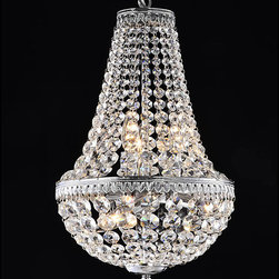 None - Symmetric 6-light Chrome Chandelier - Get the conversation started with this elegant six-light chandelier. Optical glass crystals cascade into a unique tear drop shape that gives this chandelier a striking appearance. The chandelier accepts six candelabra bulbs (not included).
