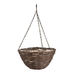 Panacea Products - 14'' Black Rattan Hanging Basket - Display your gorgeous plants with this hanging basket that offers a sturdy steel construction, a graceful rattan weave and a coco liner for cultivating lush, hearty blooms.   Includes planter and coco liner 7'' H x 14'' diameter Steel Imported