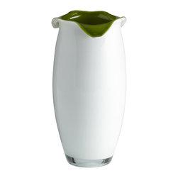 Olive Green and White Art Glass  Villasa Vase - Small - *Small Villasa Vase