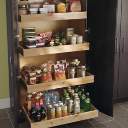 Diamond Tall Utility Cabinet with Roll Trays - No more losing items in the back of the pantry. Roll Trays keep everything organized and visible.
