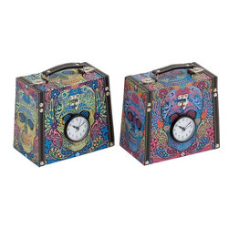 Benzara - Wood Canvas Clock Box with Vibrant Colors - Set of 2 - Featuring a distinctive style and attractive look, this set of Wood Canvas Clock Box has a practical and stylish design that makes it perfect for all settings. Flaunting vibrant colors, the boxes also have a striking appearance. The boxes are available in a portable design and sport a trendy casual appearance which enhances the overall appeal of the boxes. An ideal choice for storing all you need, the boxes ensure versatility and practical use. They are also fitted with clocks that add a unique touch to the design while making them functional. These boxes are made from wood and canvas to ensure a durable and long lasting build that can endure years of use. This set of boxes is a nice gift for your beloved for special occasions.