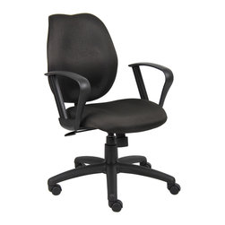 "Boss Chairs - Boss Chairs Boss Black Task Chair w/ Loop Arms - Mid-back styling with firm lumbar support. Elegant styling upholstered with commercial grade fabric. Sculptured seat cushion made from molded foam that contours to the shape of your body. Ratchet back height adjustment mechanism which allows perfect positioning of the back cushion and lumbar support. Standard loop arms. Large 27"" nylon base for greater stability. Pneumatic gas lift provides instant height adjustment of the seat. Adjustable tilt tension that accommodates all different size users. Hooded double wheel casters. Upright locking position."