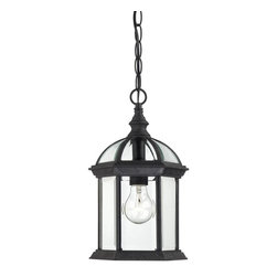 "Nuvo - One Light - Outdoor Hanging Pendant - Textured Black Finish with Clear Beveled G - Shade: Clear Beveled Glass.  UL certified: Wet Location.  Bulb Information: 1 x 100w-Medium A19 Incandescent (Bulb is not included).  Chain: 48"". . Color/Finish: Textured Black. 8 in. W x 14 in. H (3 lbs)The Boxwood collection's open design and clear beveled glass gives the feeling of delicacy as well as an understated air of gracefulness.  This collection is offered in white, rustic bronze, and textured black and features a wide breadth of application solutions.  This stately collection's effortless and elegant design is sure to deliver a great first impression of your home."