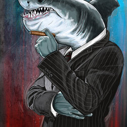 "Maxwell Dickson - Maxwell Dickson ""Business Shark"" Modern Canvas Art Print Artwork - We use museum grade archival canvas and ink that is resistant to fading and scratches. All artwork is designed and manufactured at our studio in Downtown, Los Angeles and comes stretched on 1.5 inch stretcher bars. Archival quality canvas print will last over 150 years without fading. Canvas reproduction comes in different sizes. Gallery-wrapped style: the entire print is wrapped around 1.5 inch thick wooden frame. We use the highest quality pine wood available."