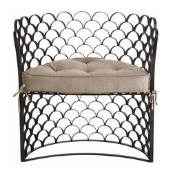 Arteriors Home - Arteriors Home Vero Iron/Linen Chair - Arteriors Home 6700 - Inside or out, this chair will cause a scene. The half moon shaped, wrought iron scalloped frame will not settle for less than your full attention. The removable linen cushion has button detailing to complete the look. Inside or out, this chair will make your heart skip a beat.