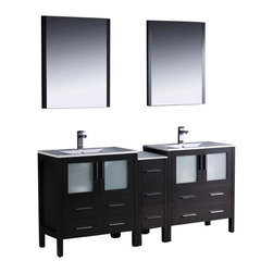 Fresca - Torino Double Sink Bathroom Vanity w Ceramic Sinks (Bevera Chrome - 2 Pcs.) - Choose Included Faucets: Bevera Chrome - 2 Pcs.P-traps, Faucets, Pop-Up Drains and Installation Hardware Included. Single Hole Faucet Mounts (Faucets Shown In Picture May No Longer Be Available So Please Check Compatible Faucet List). With overflow. Sink Color: White. Finish: Espresso. Sink Dimensions: 19 in. x12 in. x5 in. . Mirror: 25.5 in. W x 31.5 in. H x 1.25 in. D. Materials: Plywood w/ Veneer, Ceramic Sinks w/ Overflow. Vanity: 72 in. W x 18.13 in. D x 33.75 in. HFresca is pleased to usher in a new age of customization with the introduction of its Torino line. The frosted glass panels of the doors balance out the sleek and modern lines of Torino, making it fit perfectly in either Town or Country decor. Available in the rich finishes of Espresso, Glossy White and Light Oak, all of the vanities in the Torino line come with either a ceramic vessel bowl or the option of a sleek modern ceramic undermount sink.
