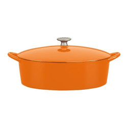 Mario Batali by Dansk - Mario Batali by Dansk Classic 6 qt. Oval Dutch Oven - Persimmon Multicolor - 826 - Shop for Dutch Ovens from Hayneedle.com! The Mario Batali by Dansk Classic 6 Sq. Oval Dutch Oven in Persimmon are the color of this celebrity chef's clogs and make cooking just as comfortable (though infinitely tastier). This oval cast iron Dutch oven wraps the durable taste-making properties of cast iron in a sizzling persimmon enamel that lends a pop of color to your kitchen. Not just pretty this Dutch oven is smart too. It doesn't need to be seasoned is dishwasher-friendly and also works beautifully on your gas electric induction or ceramic-top stove. It even comes with a lifetime warranty. Comfy shoes and a sexy pot -- lets get cooking!