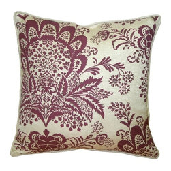 Pillow Decor - Pillow Decor - Rustic Floral Purple 20 x 20 Throw Pillow - This gorgeous throw Pillow features a bohemian floral pattern in soft purple, printed on a beautiful sand colored cotton-linen blend fabric. Seamed with self-piping, this pillow offers the versatility to fit into a wide range of decor styles from modern-contemporary to country or traditional, and in settings that are either casual or formal.