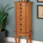 Coaster - Oak Country Jewelry Armoire - Classic styled jewelry armoire complements anyone's collection. Finished in a warm brown oak with green felted drawers and a flip top mirror.