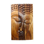 Kammika - Buddha Panel Serene Sus Wood 30 x 47 inch H w  Eco Friendly Livos Walnut Oil Fin - This beautiful Buddha Panel Serene 30 inch length x 47 inch height x approximately 6 inch thickness, including the approximately 4 inch protruding nose, Sustainable Monkey Pod wood in Eco Friendly, Natural Livos Walnut Oil Finish Wall Panel presents a Buddha peaceful countenance gazing down from the magnificent, stately resource of wood. Now you can discover the calming, inspiring effect of Buddha in the Serene stage when you display this wall panel that has been carved from joining panels. Each of the panels has two embedded flush mount Keyhole hangers for a protruding screw from your wall. Alternately, you can place on the floor at a slight angle. These panels are carved by craftspeople in Thailand, who spend hours shaping, sanding, and finishing these wonders of wood. The panels are made of sustainable wood grown specifically for the woodcarving industry. Panels are shipped in sections for ease of shipping and a more manageable hanging weight. The Livos Walnut oil finish is translucent, so the wood grain detail is highlighted. Polished to a matte water resistant and food safe finish, the color ranges from medium to dark Walnut brown tones that will darken as the wood ages. There is no oily feel and cannot bleed into carpets. We make minimal use of electric hand sanders in the finishing process. All products are dried in solar or propane kilns. No chemicals are used in the process, ever. After each piece is carved, dried, sanded, and rubbed with Livos oil, they are packaged with cartons from recycled cardboard with no plastic or other fillers. The color and grain of your piece of Nature will be unique, and may include small checks or cracks that occur when the wood is dried. Sizes are approximate. Products could have visible marks from tools used, patches from small repairs, knot holes, natural inclusions or holes. There may be various separations or cracks on your piece when it arrives. There may be some slight variation in size, color, texture, and finish color.Only listed product included.
